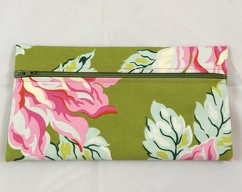 Floral cosmetic bag, cloth pencil bag, zippered pouch, makeup bag