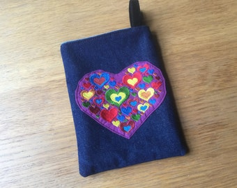 Heart in Heart Jeans Bag, Dice Bag, Gift Bag, Pipe Bag, Jewelry Bag, Knitting Pouch. 15 x 20 cm (6 x 8 inch)