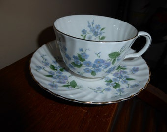 Vintage Ridgeway Potteries Royal Adderley  Forget Me Not Tea Cup and Saucer Flat Bottomed Circa 1950's