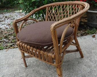 Vintage Rattan & Wicker Childs Chair Doll Chair w/ Cushion