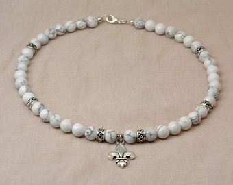 Versailles collection - howlite and silver fleur de lis necklace