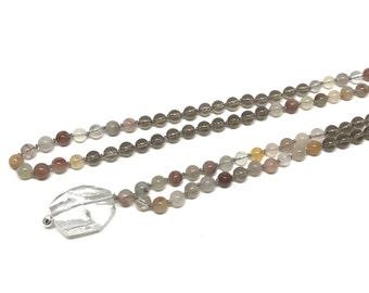 Mala 108 Mala Necklace, Positivity Prayer Beads, Smoky Quartz Jewelry Chakra Jewellery Quartz Mala Beads Mala Bead Necklace Mala Beads 108