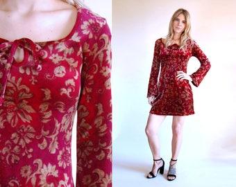 Vintage Dress Velvet 90s Bell Sleeve Mini