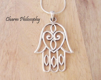 Large Hamsa Necklace - 925 Sterling Silver Jewelry - Huge Hamsa Pendant - Middle Eastern Inspired Jewelry