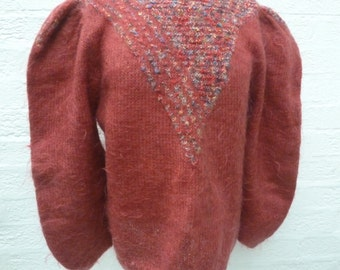 Vintage mohair sweater women's large pullover top rustic clothing Autumn colour fall jumper knit top handmade 1980s clothes winter vintage.