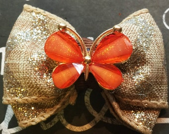 """Bows for Dogs or Girls - 2"""" Fall Butterfly Sparkle Mini Bow - Gold Chevron - Butterflies - Fall Bows - Dog Bows - Burlap - Bows for Girls"""