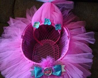 Pink Trolls POPPY TUTU Easter Basket, Troll Hair Headband, Sparkle Bottle Cap Hair Bow Clip with POPPY and hair!  - Use as bow holder.