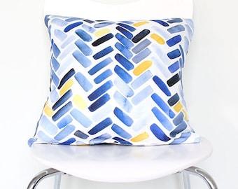 Blue & Yellow Herringbone - Throw Pillow