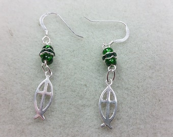 Saint Patricks Day Earrings open Fish with Cross