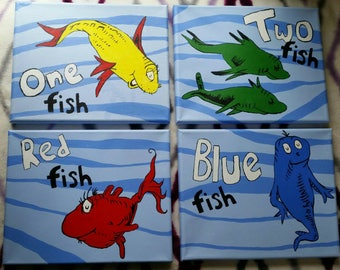 Set of four one fish two fish Dr Seuss hand painted stretched canvas