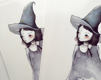 Witchy postcard print - 5 x 7 watercolor sketch of purple witch girl
