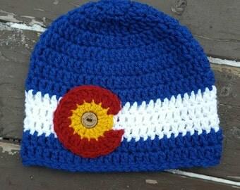 CO state flag beanie/Colorado beanie/Colorado  hat/ traditional Colorado flag beanie in Blue/winter hat/beanie/CO hat/ mens/ womens/ gift