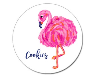 Personalized Tin Container - Monogram Cookie Tins - Flamingo Container- Flamingo Cookie Tin