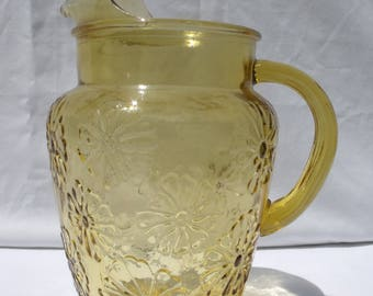 Anchor Hocking Spring Song Honey Gold Pitcher