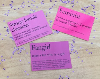 The F. Words Feminist/Fangirl/Strong Female Character Postcard Prints Art Poster Bookmark Gift Limited Stock