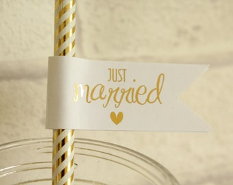 Set of 10 Wedding Straw Flags/Cupcake Toppers for decor Happy ever after/Mr & Mrs/ Love is Sweet/ Just Married in Gold/Silver/Colour Foils