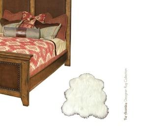 Plush Faux Fur Area Rug - Shaggy English  Sheepskin - Faux Fur - Animal Pelt Shape Designer Throw Rug - Fur Accents - USA
