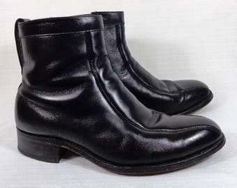 Mens Vintage Stafford Beatle Boots Men's Size 9 USA Black Leather Side Zipper