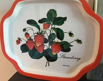 Vintage tray, small tray, metal tray, strawberries