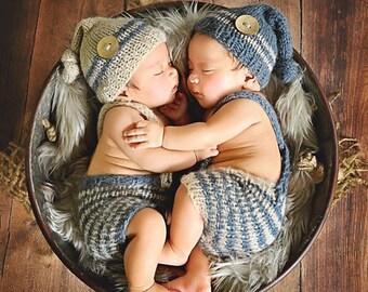 SUMMER SALE! Twins,Newborn set,Photo prop,Knitting set,Twins set,Vintage hat,Newborn,Newborn knitting hat,Newborn knitting pants