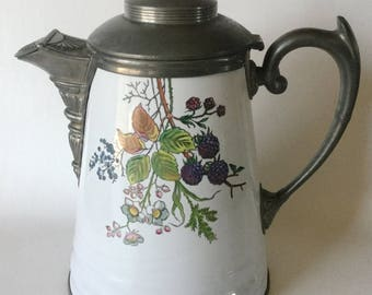 1880s Pewter Trimmed GRANITE WARE Coffee Pot Blackberry Design Victorian #1