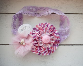 Handcrafted Lavender Pink and White Flower Headband - Easter Headband - Toddler Headband - Striped Bow - Baby Girl Bows - Easter Newborn Bow