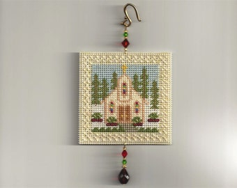 Country Church Tree Ornament - Counted Cross Stitch Chart - PDF Instant Download