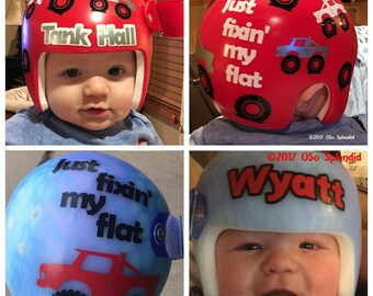 Personalized Cranial Band Texas Rangers Baseball Decals - Baby helmet decals