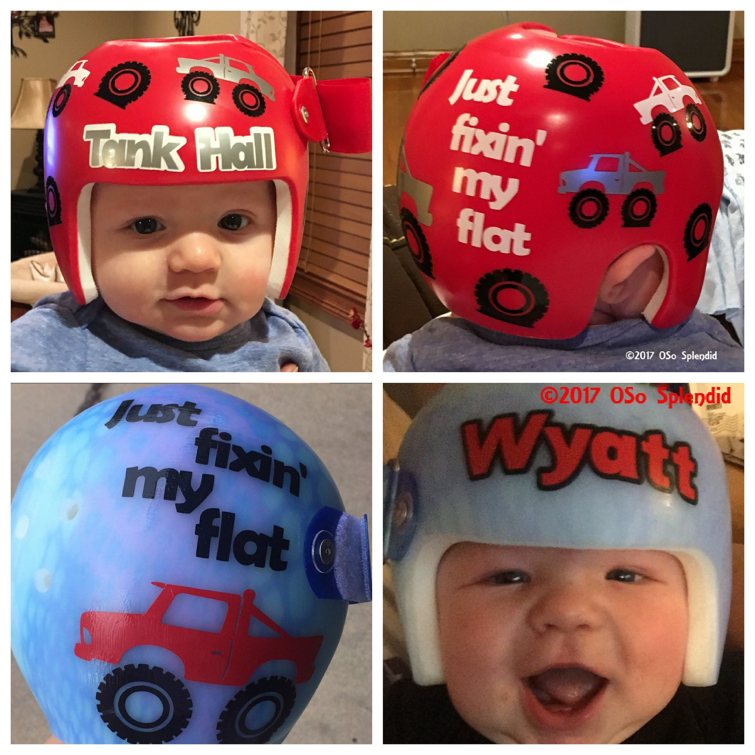 Personalized Cranial Band Decals Monster Truck Fixing My - Baby helmet decals