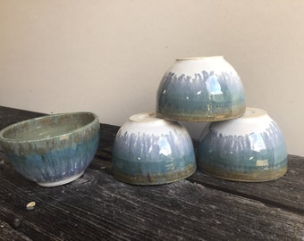 Ceramic Tea cup set of four handmade wheel thrown pottery stoneware tea bowls