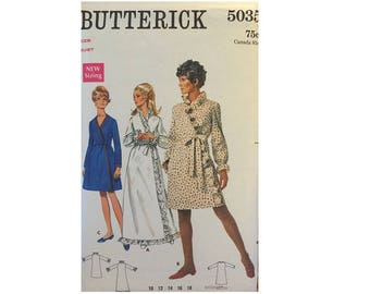 "Butterick #5035 60's Ruffle Frilly Edge or Plain Dressing Gown Bathrobe Robe Sewing Pattern Bust 36"" UK 14"