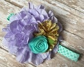 Purple, Mint and Gold Mermaid Headband gold, lavender and mint mermaid baby headband, mint elastic, 1st birthday, mermaid theme
