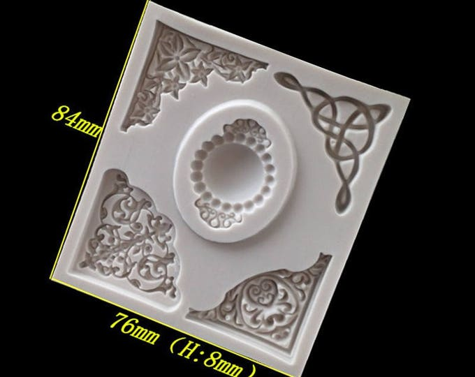 Vintage Corners Silicone Mold - XL104D - Baking Fondant Happy Birthday Party Royal Icing Chocolate