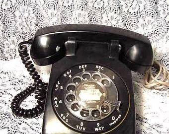Vintage Black Rotary Dial Telephone ITT Tidewater Telephone Company