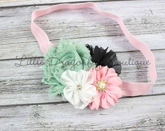 Sage, black, white & pink headband {toddler headband}