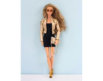 Golden faux-leather jacket for Barbie and Poppy Parker