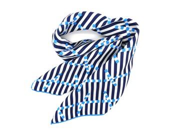 Silk Scarf 'Breton Signal' Design with Rolled Edges