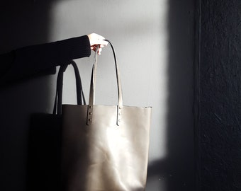 All Leather Tote by Directive. Leather Handles.  Leather Day Bag. Large shoulder Bag. Long Straps
