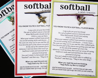 12 Softball Wish Bracelets ... You Know You're a Softball Player When ... Great for Gifts, Team Spirit, Birthday Favors and More!