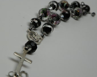 3D Rose bead Barb Chaplet Bracelet with Heart Clasp (BRB7)