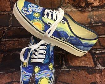 Starry Night Shoes. Van Gogh Vans. Vincent Van Gogh Shoes. Painted Van Gogh. Can Do Starry Night Converse or Toms