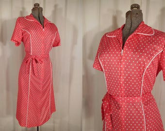 Vintage 1960s Dress / Large Rockabilly Pink Plus Size Dress / 50s Polka Dot Dress / Zipper Front Summer Dress