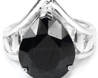 11.30 ct Natural Black Spinel Pear Sterling Silver Ring Size 8.75