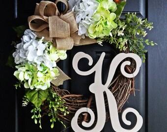 The Green and Taupe Hydrangea Wreath, Burlap Spring Wreath, Wedding Wreath, Summer Wreath, Monogram Wreath, Winter Wreath