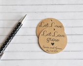 Let Love Grow, Personalised Wedding Favor Tag, Wedding Gift Tag, Bonbonniere Tag, Round Tag, Kraft Gift Tag, Classic Style Wedding Tag