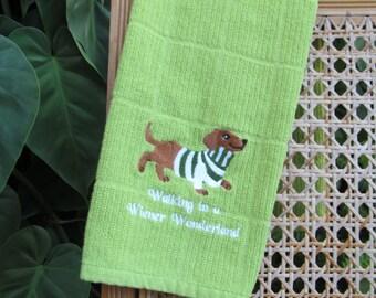 Embroidered Walking in a Wiener Wonderland Kitchen Towel