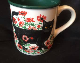 BLACK CAT MUG vintage 1991 Potpourri Press 4A-332