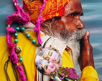 Nomadic Indian - kitsch - hippie - boho beach - folk - Hindu deity - bohemian necklace - India - bohemian necklace tribal necklace