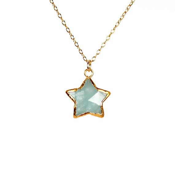 Aquamarine necklace - star necklace - gold star necklace - crystal star necklace