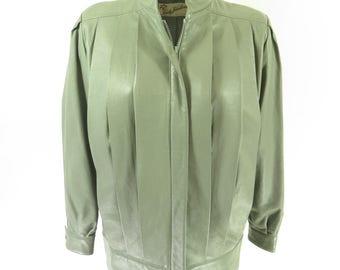 Vintage 80s Leather Jacket Womens L Gray USA Made Lady Halina [H52K_2-1]